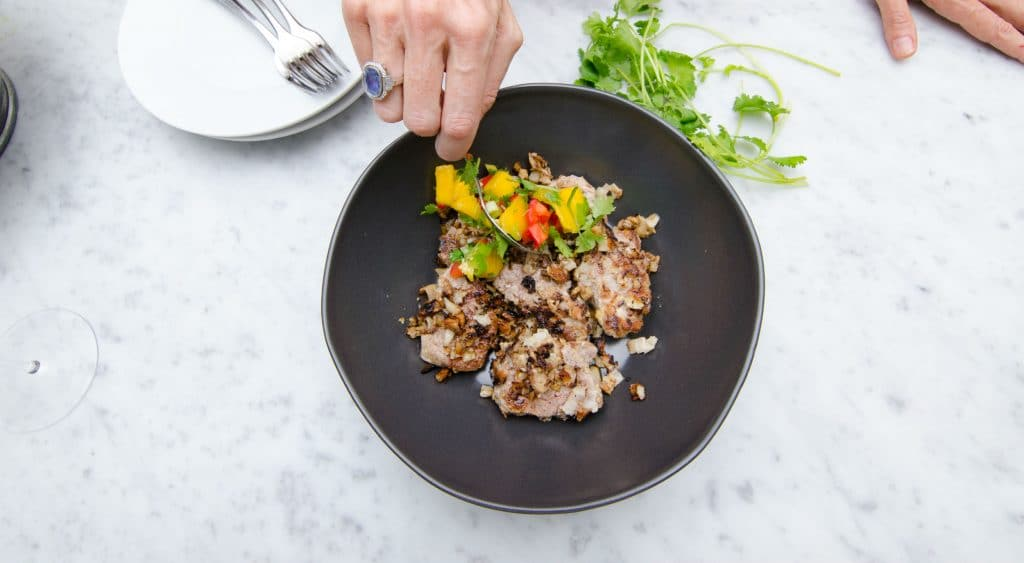 Coconut Crusted Pork Tenderloin with mango salsa