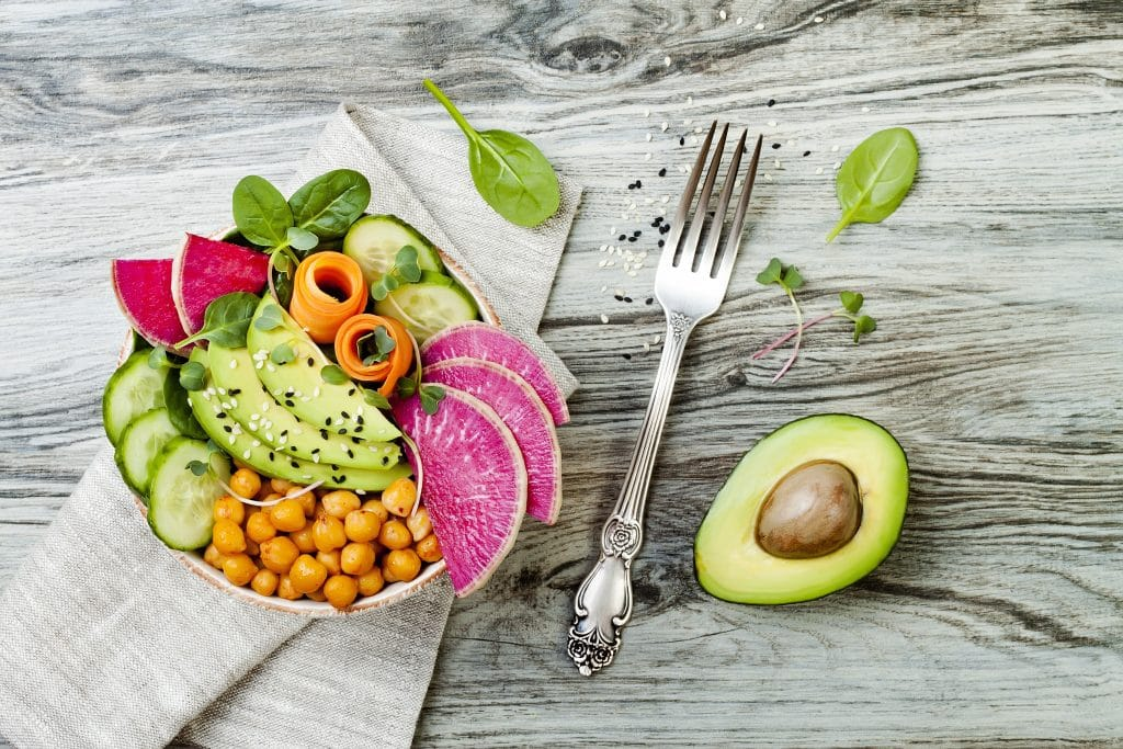 Buddha bowl recipe with avocado, carrots, spinach, chickpeas